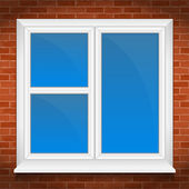 Window in brick wall — Stock Vector