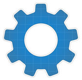 Blueprint Gear Icon — Stock Vector