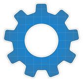 Blueprint Gear Icon — Stock Vector