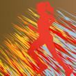 Silhouette of runner vector in front of colorful abstract lines — Stock Vector