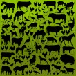 Farm animals detailed silhouettes illustration collection backgr - Stock Vector