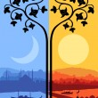 Stock Vector: Vintage Arabic city landscape night and day cycle illustration b