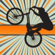 Mountain biking burst vector background — Stok Vektör