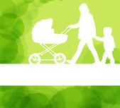 Mother with baby carriage and kid background — Stock Vector