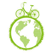 Green ecological bicycle driving planet vector background — Stock Vector