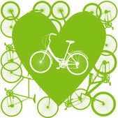 Vintage bicycle illustration love concept — Stock Vector