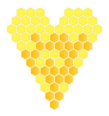 Honeycomb heart vector background — ストックベクタ