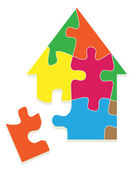 Colorful jigsaw puzzle house vector background — Stock Vector