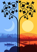Vintage Arabic city landscape night and day cycle illustration b — Stock Vector