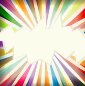 Colorful template with retro sun burst background — Stock Vector