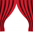 Theater stage with red curtain vector background — Stock Vector