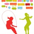 Girls, kids jumping vector silhouette set background — Stock Vector #11461806