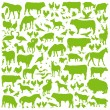 Farm animals detailed silhouettes background vector — Imagens vectoriais em stock