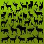 Hirsch, Elch und Mountain Schafe gehörnten Tiere-Vektor — Stockvektor