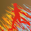 Silhouette of runner vector in front of colorful background - Stock Vector