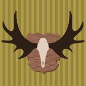 Moose head horns hunting trophy illustration background vector — Stock Vector