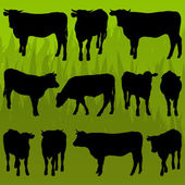 Beef cattle detailed silhouettes illustration background vector — Stock Vector