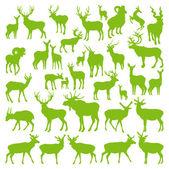 Hjortar samling silhuetter ecology vector — Stockvektor
