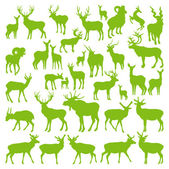 Vector venados colección siluetas ecología — Vector de stock