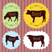 Beef cattle food labels illustration background — Stock Vector
