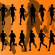 Marathon runners vector background — Imagen vectorial