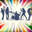 Rock concert band silhouettes burst background illustration vect - Stock Vector