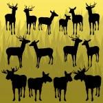 jeleni a Los rohatá lovecká trofej zvířata obrázku pozadí — Stock vektor