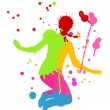 Royalty-Free Stock Imagen vectorial: Colorful bright ink splashes and happy person vector background