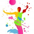 Royalty-Free Stock Векторное изображение: Colorful bright ink splashes and happy person vector background