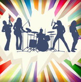 Rock concert band silhouettes burst background illustration vect — Stock Vector