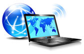 Laptop internet surfing — Stock Vector
