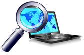 Laptop internet zoeken en vinden — Stockvector