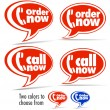 Call now, Order now speech bubbles — Stock Vector