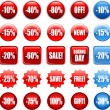Red shopping sales icons labels tags — Imagen vectorial