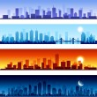 Stock Vector: Set of city skylines background