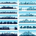 skylines da cidade panorâmicas — Vetorial Stock