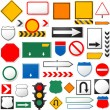 Stock Vector: Various road signs isolated on white background