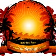 Orange sunset surfing beach background - Stok Vektr