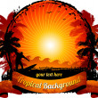 Orange sunset surfing beach background - Imagen vectorial
