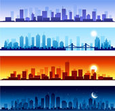 Set of city skylines background — Stock Vector