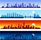 Set van stad skylines achtergrond — Stockvector