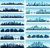 Stad skylines panoramisch — Stockvector