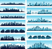 City skylines panoramic — Stock Vector