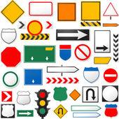 различные дорожные знаки, изолированные на белом фоне — Cтоковый вектор