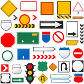 Various road signs isolated on a white background — Vector de stock
