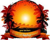Orange sunset surfing beach background — Stock Vector