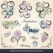 Elementi di design decorativo calligrafico — Vettoriale Stock