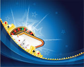 Abstract casino background with roulette and playing cards — Stok Vektör