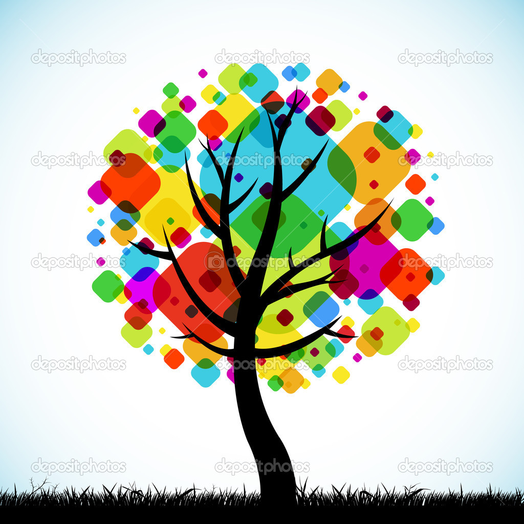 The abstract tree colorful background square design — Stock Vector #11745798
