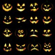 Jack o lantern pumpkin faces - Stock Photo